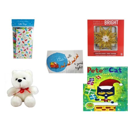 Christmas Fun Gift Bundle [5 Piece] - 2-Pk  Lights Cello Bags 20 Count - Deck The Halls Lighted Burst Gold Tree Topper - Santa's Pillowcase Sham And To All A Goodnight! - Soft & Cuddly White Teddy B - Bag Toppers