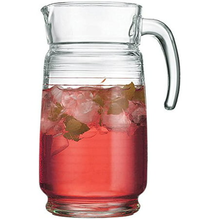 Palais Glassware 64 Ounce Capacity Clear Glass Pitcher (Striped