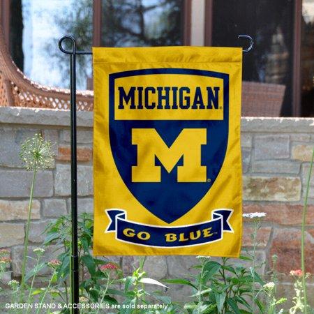 """michigan wolverines shield 13"""" x 18"""" college garden flag"""