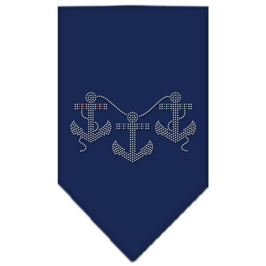 Anchors Rhinestone Bandana Navy Blue large