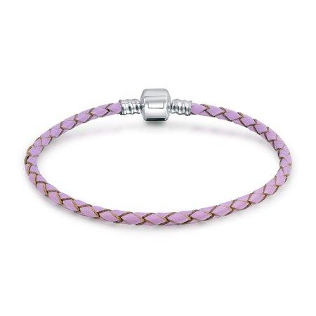 Lavender Braided Genuine Leather Starter Charm Fits European Beads Bracelet For Women 925 Sterling Silver Barrel (Sterling Silver Barrel Clasp)