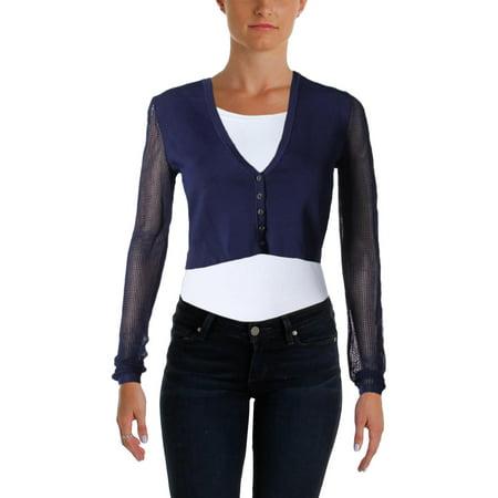 Lauren Ralph Lauren Womens Crop Top Button Down Cardigan