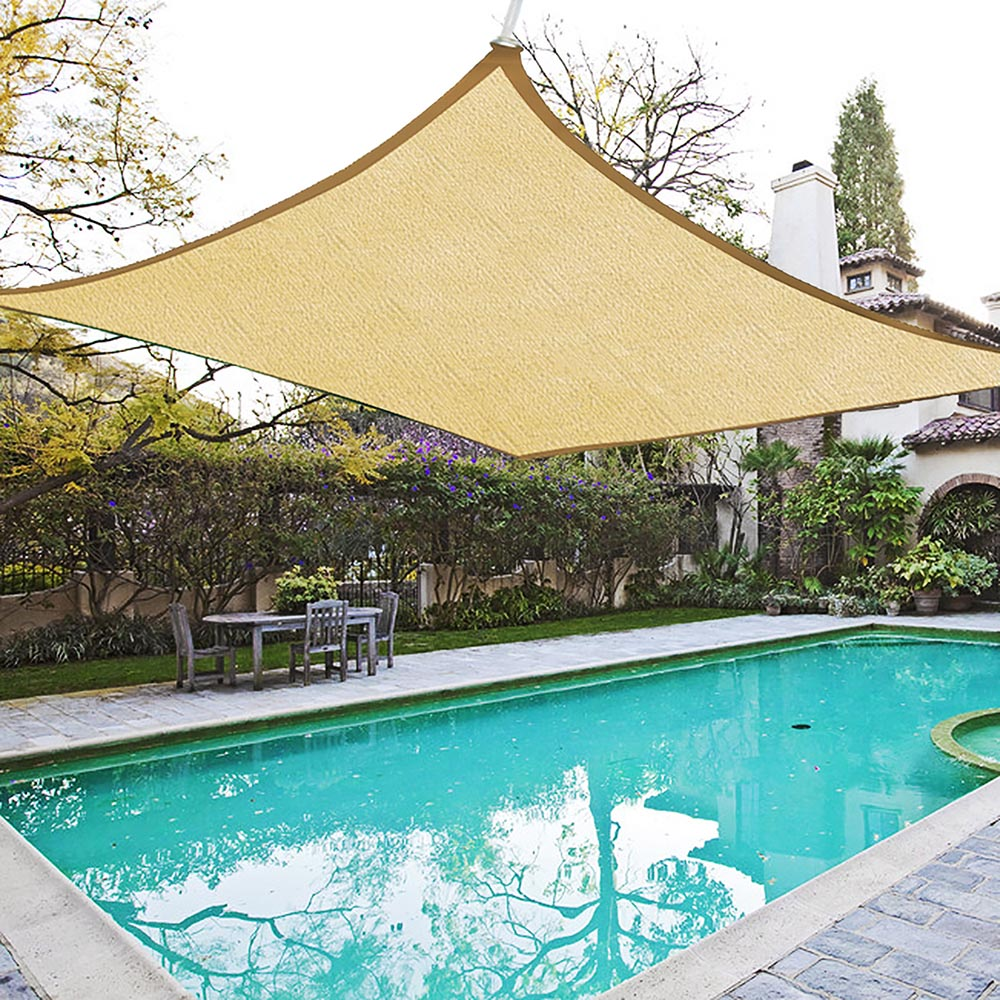 yescom 20x16 ft outdoor uv block rectangle sun shade sail canopy cover for patio pool lawn