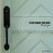 Please remove your shoes..thank you vinyl lettering wall decal (2.5'H x 9.75'L, Black)