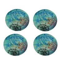 Set of 4 Coastal Blue Sea Turtle Round Art Glass Salad Plates