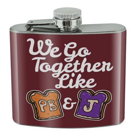 Peanut Butter and Jelly Together PB&J Best Friends Stainless Steel 5oz Hip Drink Kidney