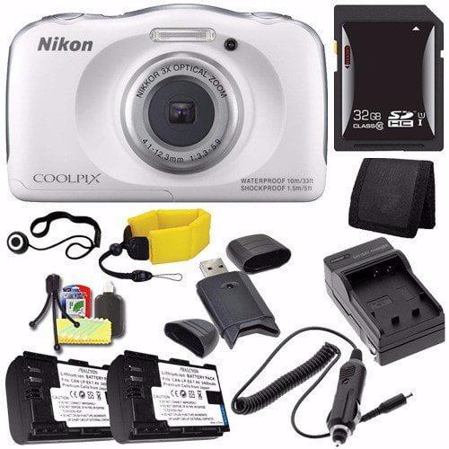 Nikon COOLPIX S33 Digital Camera (White) (International Model No Warranty) + EN-EL19 Battery + External Charger + 32GB SDHC Card + Floating Strap + Card Reader + Card Wallet Saver Bundle