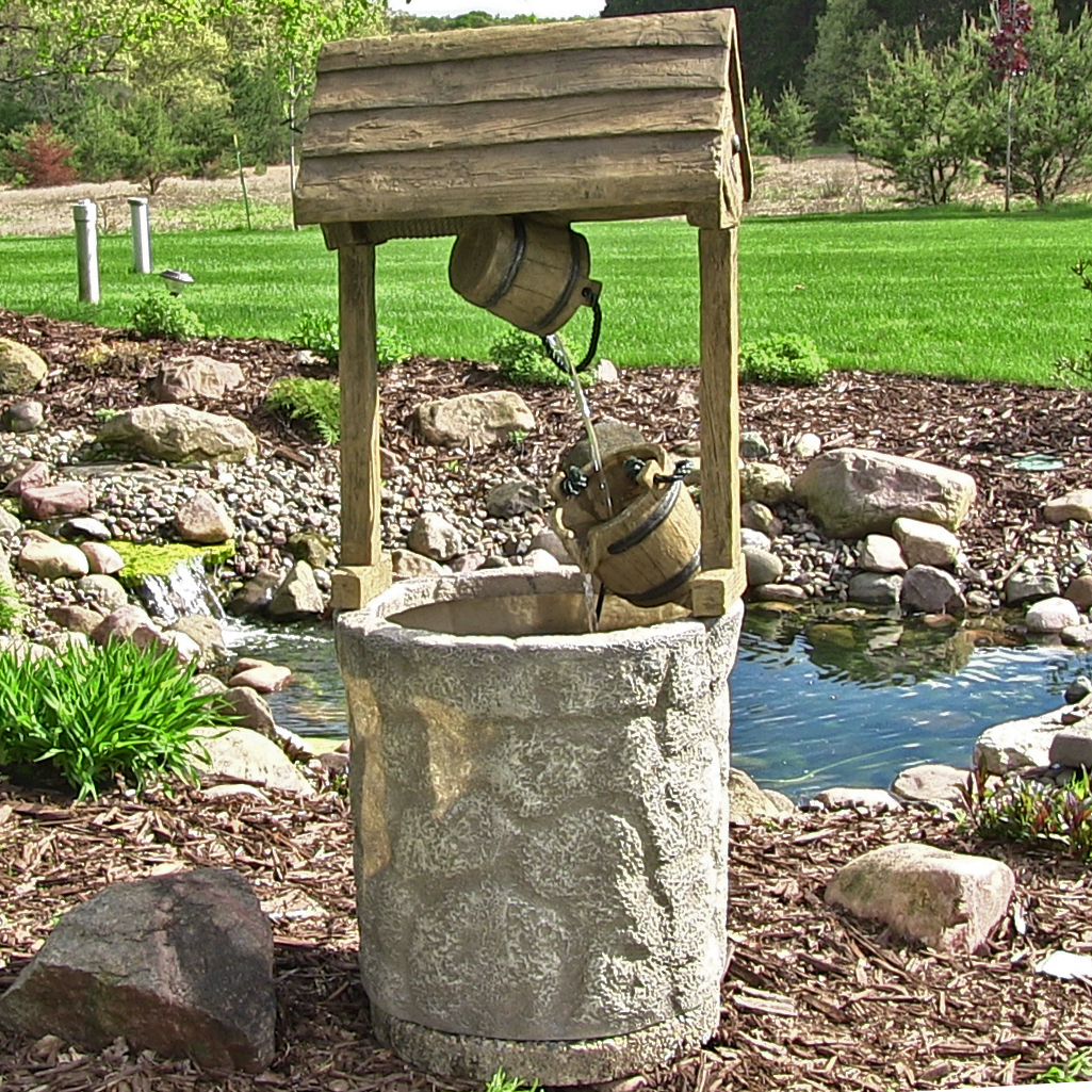 Sunnydaze American Outdoor Wishing Well Water Fountain, 49 Inch Tall    Walmart.com