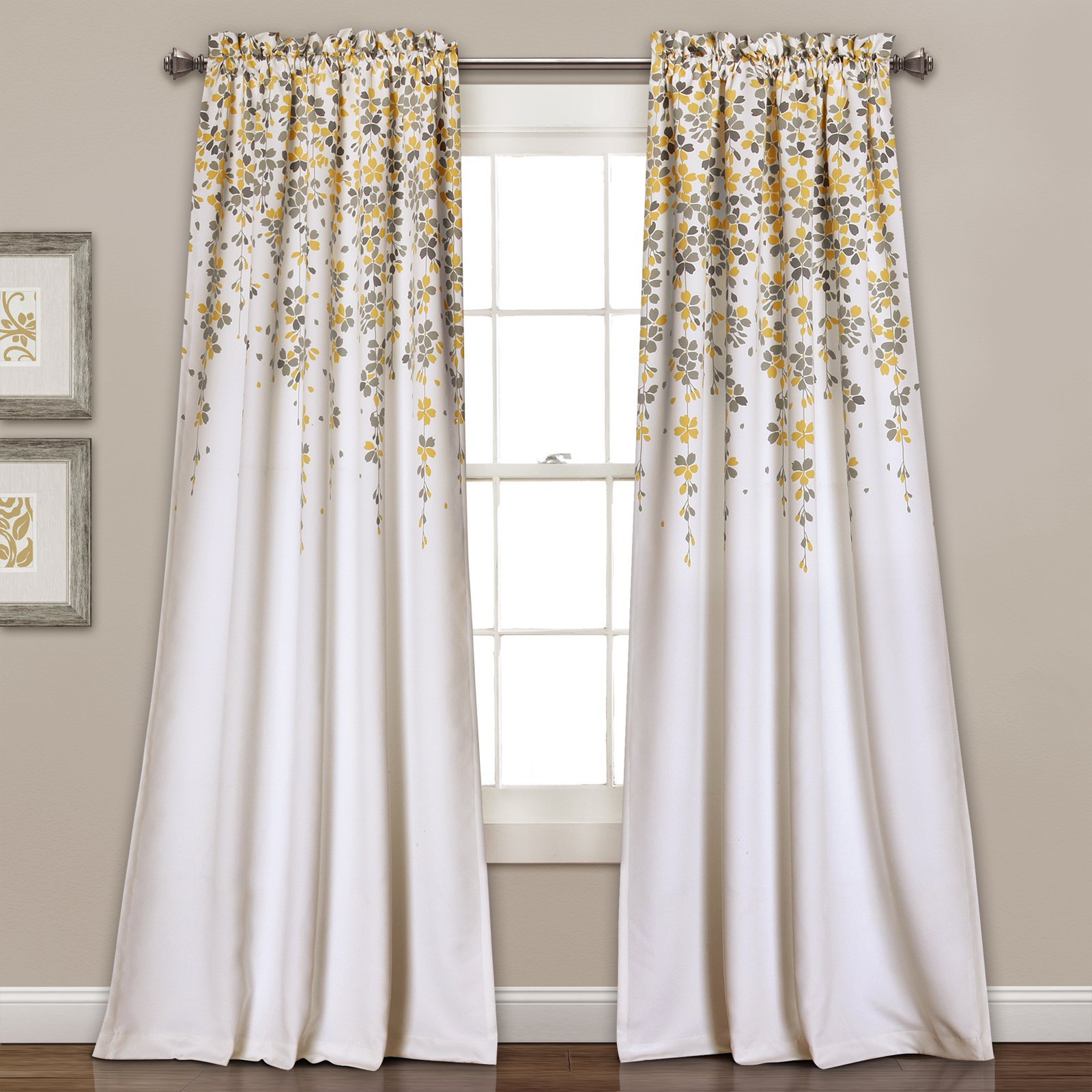 Weeping Flowers Room Darkening Window Curtain Set by Generic