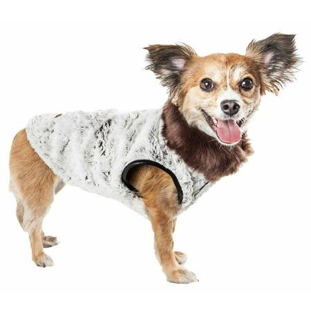 Pet Life ® Luxe 'Purrlage' Pelage Designer Fur Dog Coat Jacket (Designer Dog Raincoat)