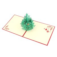 Unique Bargains Christmas Festival Paper 3D Hollow Out Tree Design Present Greeting Card