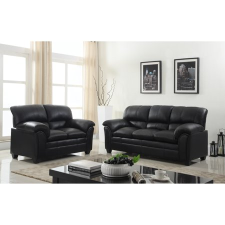 GTU Furniture Sophisticated Luxurious, Faux Leather Rich Onyx Black Loveseat Couch Sofa, Over-stuffed Cushions, Sofás de Sala (Onyx Loveseat)