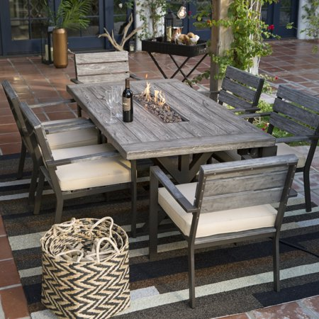 Belham Living Silba 7 Piece Envirostone Fire Pit Patio Dining Set