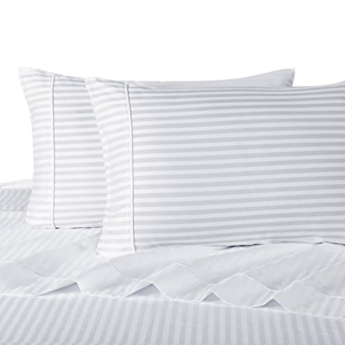 Sheetsnthings 100% Cotton, Bed Sheet Set - 600TC, Full White Stripes - Soft, Deep Pocket, 4PC Sheets