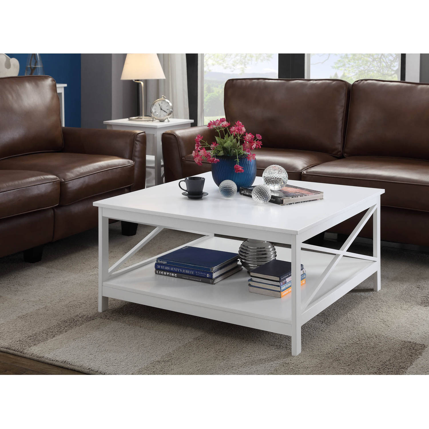"Convenience Concepts Oxford 36"" Square Coffee Table, Mutliple Colors"