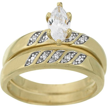 1.2 Carat T.G.W. CZ and Diamond Accent 18kt Gold-Plated Bridal Set