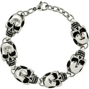 Stainless Steel Antiqued Skulls Bracelet, 8.5