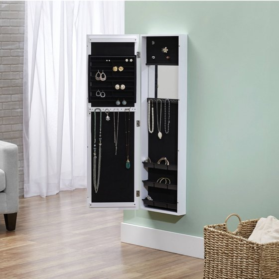 InnerSpace Over-the-Door/Wall-Hang/Mirrored Jewelry Armoire