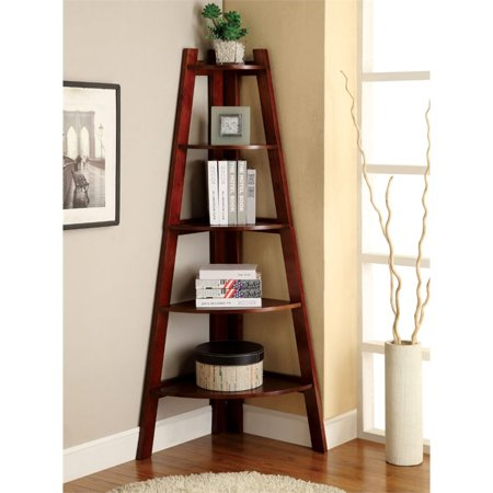 - Bowery Hill 5 Shelf Corner Bookcase in Cherry