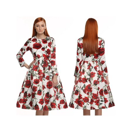 ACEVOG Women Long Sleeve Retro Vintage Style 1950\'s Floral Spring Garden Party Cocktail Picnic Dress WLT - 1950's Style Halloween Costumes