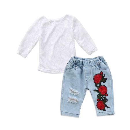 Toddler Kids Baby Girls Flower Lace Tops Jeans Pants Outfit Clothes - Flower Child Outfits