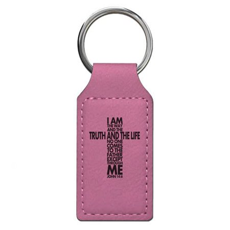 Keychain - Bible Verse John 14:6 - Personalized Engraving Included (Pink Rectangle)