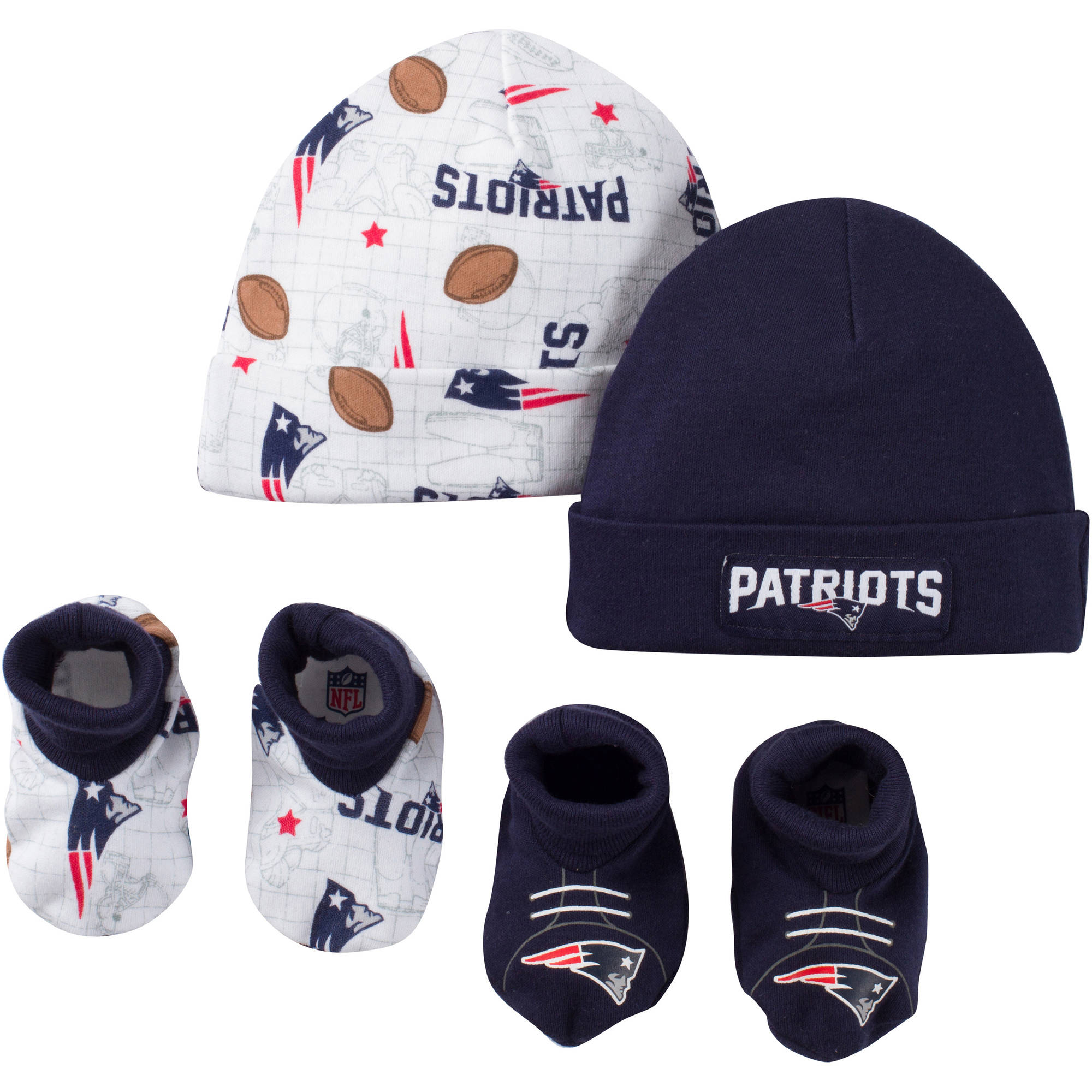 NFL New England Patriots Baby Boys Accessory Set, 2 Caps and 2 Booties, 4-Piece