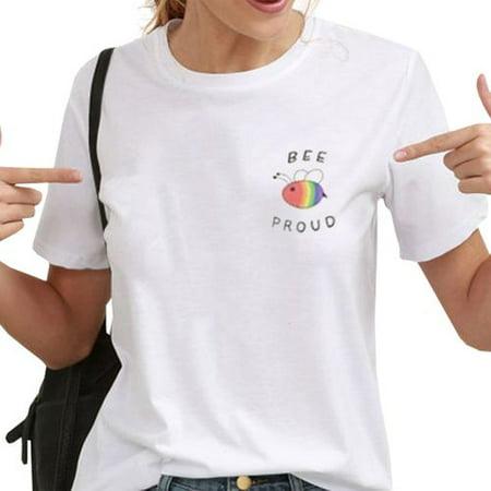 KABOER Bee and Gay Short-sleeved T-shirt Print Short-sleeved Couple T-shirt Personality Gay Pride T-shirt Lesbian Couple T-shirt