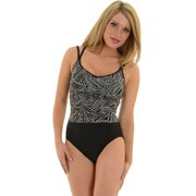 Womens Miraclesuit Swimwear 1 Piece Swimsuit Slimming Black White Print Dots