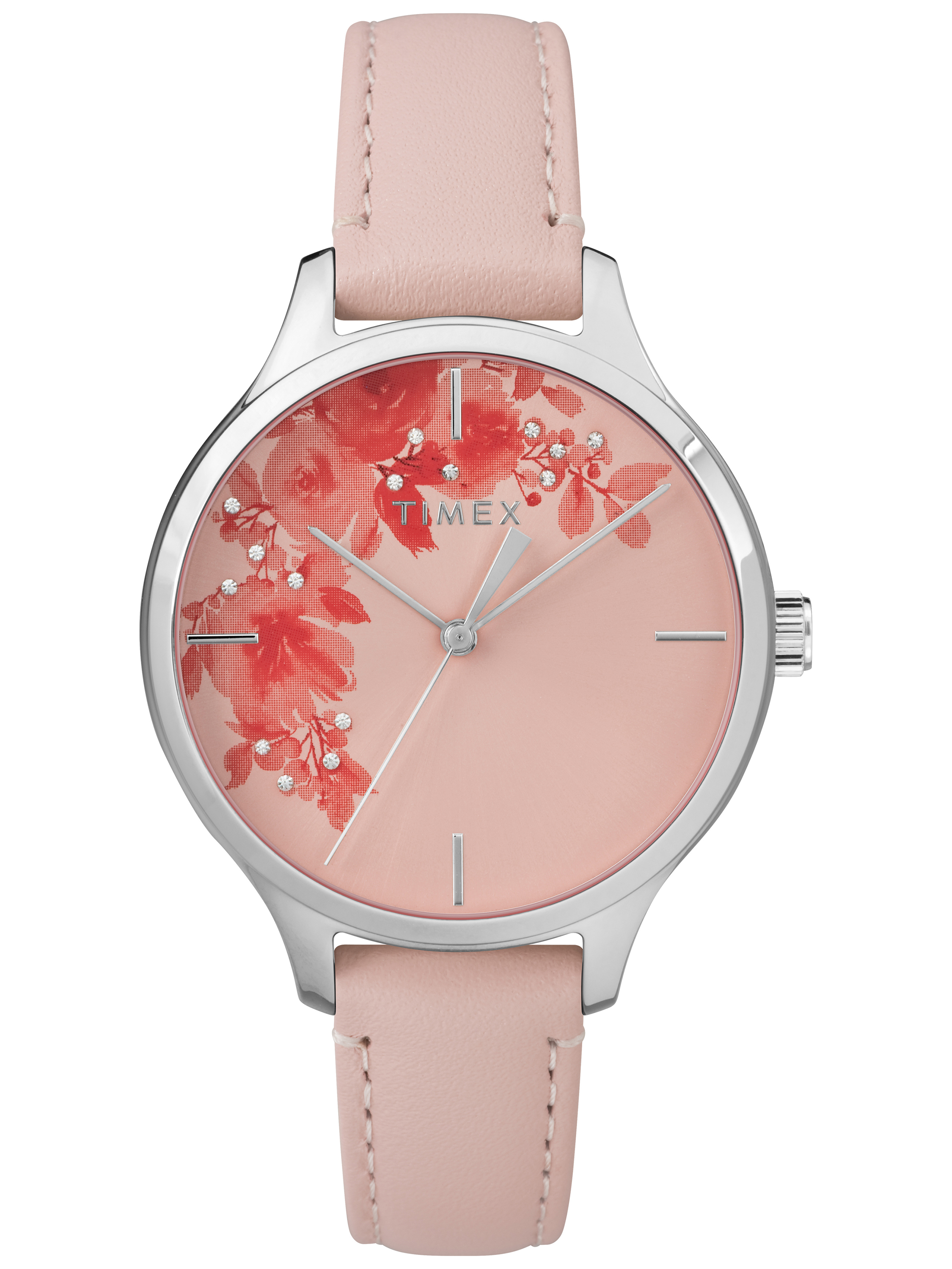 Timex Women's Crystal Bloom Pink Silver Floral Accent Watch, Leather Strap by Timex