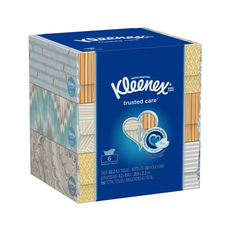 - Kleenex Everyday, Non-Lotion, 160 Facial Tissues per Box, 6 Flat Boxes