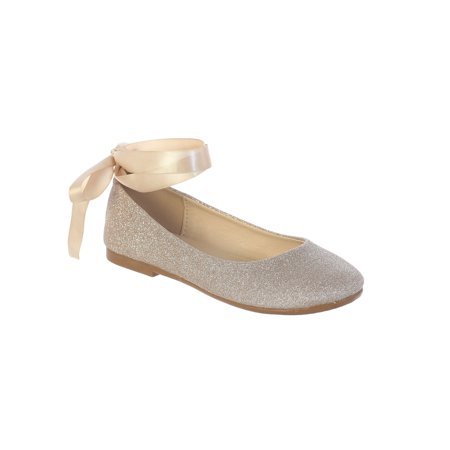 Girls Rose Gold Glitter Ribbon Ankle Ties Ballerina (Ankle Tie Shoes)