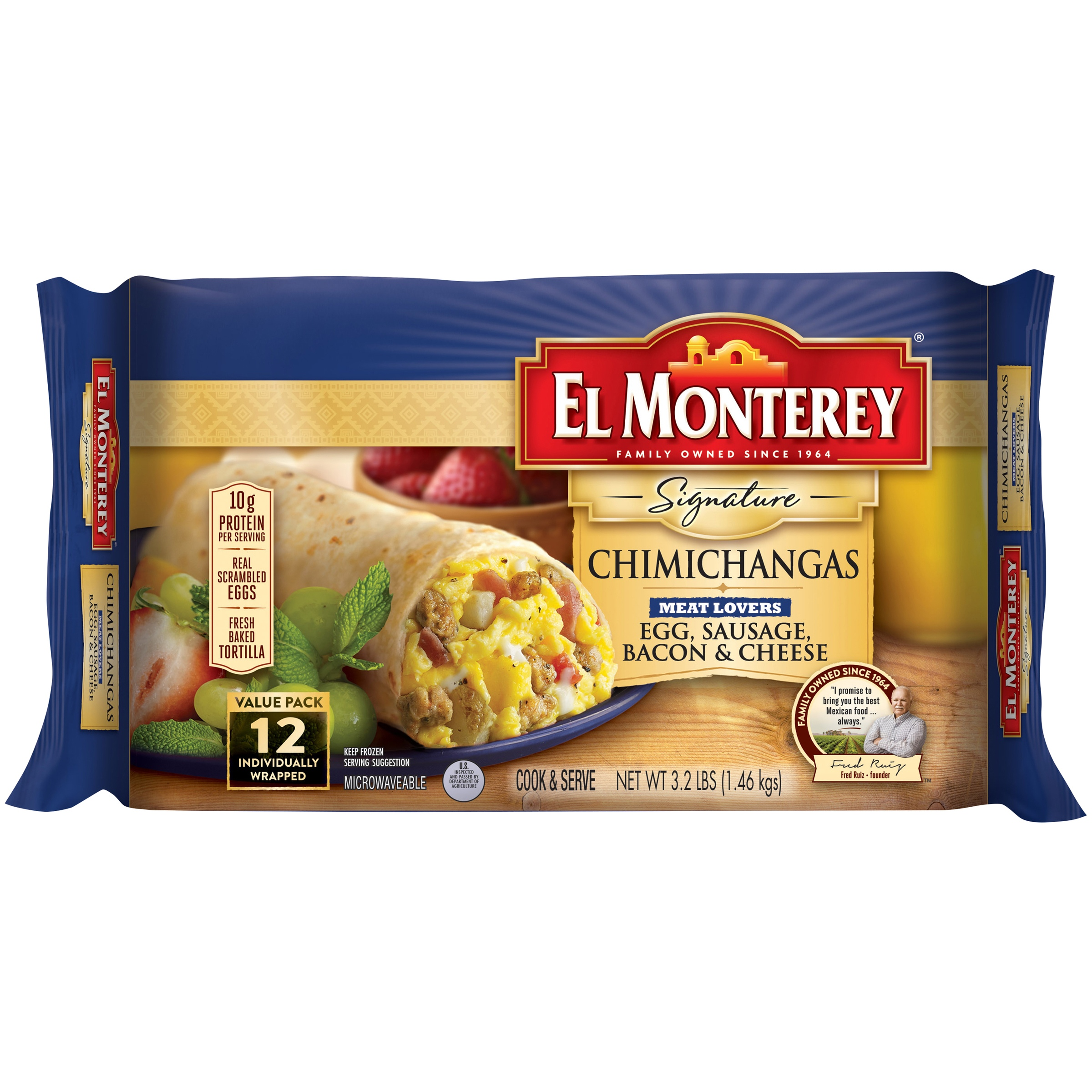 El Monterey Meat Lovers - Egg, Sausage, Bacon & Cheese Chimichanga (12ct)
