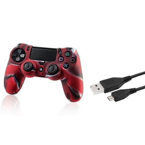 Insten Black 3.3FT Micro USB Charger Cable+Camouflage Navy Red Skin Case Cover for Sony PS4 Playstation 4