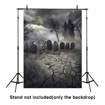 GreenDecor Polyester Fabric 5x7ft Halloween Backdrop Hunted House on Spooky Graveyard Vintage Background for Photography or Decoration (Spooky Sky Backdrop Halloween)