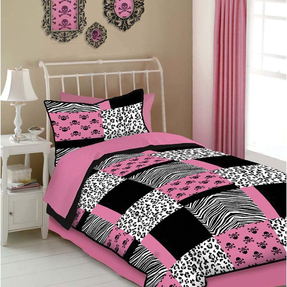 Veratex Pink Skulls Comforter Set Queen Pink