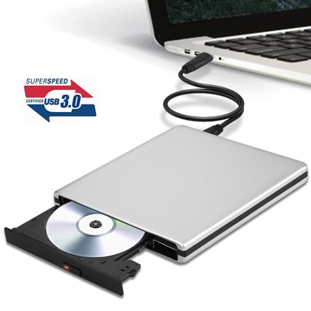 External CD DVD Drive, TSV USB 3.0 USB Dual Port Slim Portable External CD DVD Rewriter Burner Writer,High Speed Data Transfer USB Optical (Best Usb 3.0 External Optical Drive)