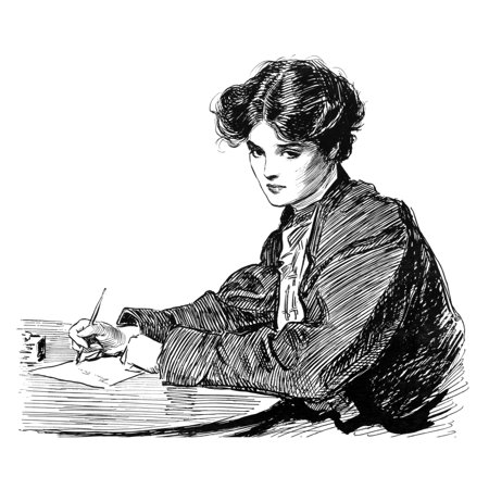 Gibson Drawings C1900 Na Young Woman Writing A Letter Pen And Ink Drawing By