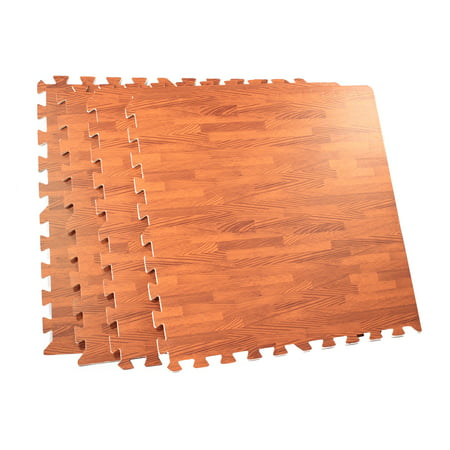 64 Square Foot Foam Interlocking Wood Grain Floor Tile Mat