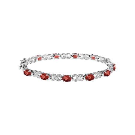 Garnet Bracelet 5.00 Carat (ctw) in Sterling Silver