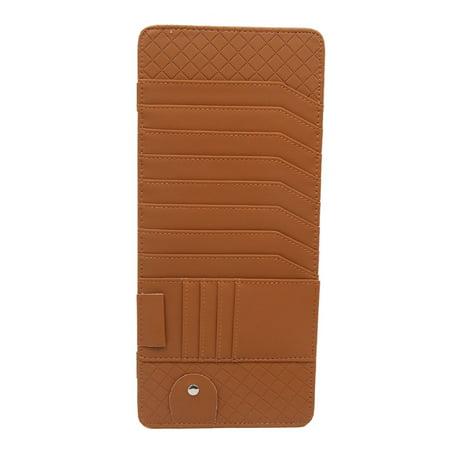 Light Brown Faux Leather Car Sun Visor CD Storage Sunglass Card Holder Pocket