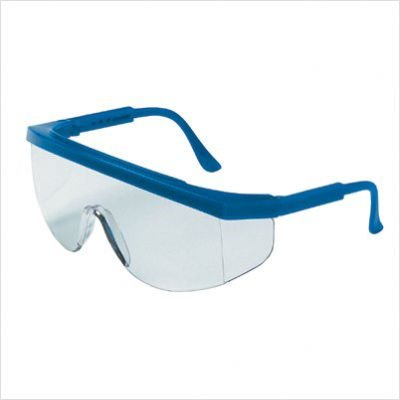 Guard High Protection (135-TK120 Tomahawk Safety Glass with Blue Frame, Clear Lens, High brow guard for extra protection and unimpeded view By CREWS)