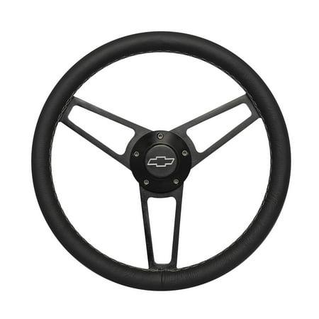 Grant 1906 Billet Series Leather Wheel; Chevrolet Horn Button;