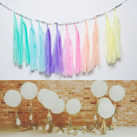 Mint Peach Gold Ivory White Tassel Garland Banner Party Decoration Wedding 1 PAK