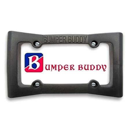 "License Plate Frame Bumper Guard - Extra Wide Black Rubber Front Car Bumper Protector - 2.25"" Thick - Universal Fit - Absorbs Low Impacts - by Bumper Buddy"