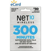 (Email Delivery) NET10 $30 Prepaid Card, 300 min for talk/web or 600 texts and 60 days of service