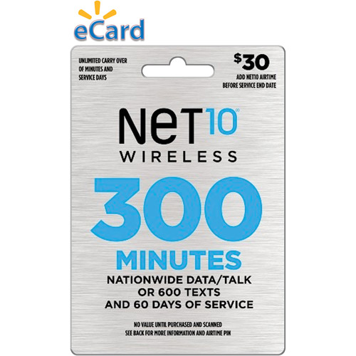 NET10 $30 Prepaid Card, 300 min for talk/web or 600 texts and 60 days of service (email delivery)