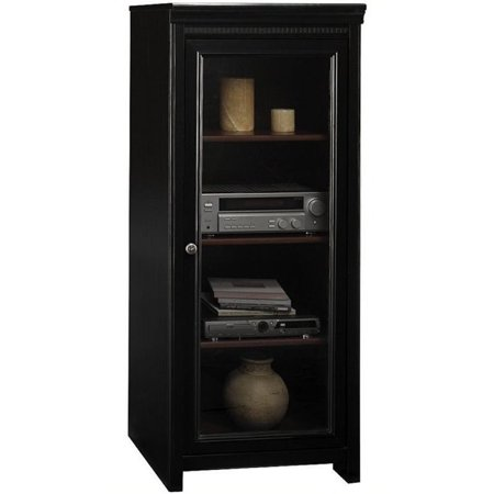 Bowery Hill Audio Cabinet with 2 Adjustable Shelves in Antique Black ()