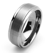 tungsten carbide wedding band ring 9mm comfort fit stepped edges for men women - Tungsten Wedding Rings For Men