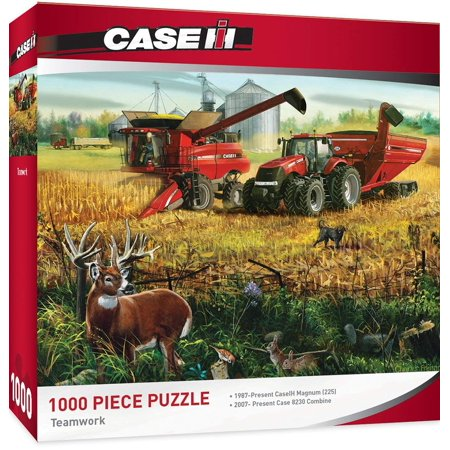 Tractor Jigsaw (Case/IH Teamwork - Models 315 & 8230 Tractors 1000 Piece Jigsaw Puzzle by Charles Freitag, Tractor &Walmartbine working the field puzzle By MasterPieces )